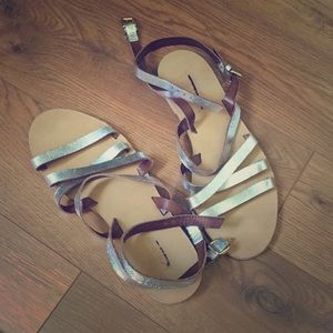 Silver Ankle Strappy Gladiator J. Crew Sandals 7.5